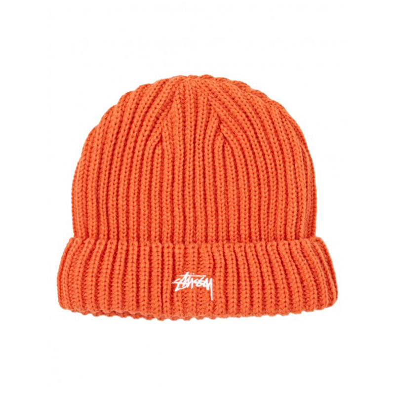 [STUSSY] SOLID COLOR CUFF BEANIE - Orange